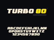 Lettres et nombre majuscules latins d'alphabet de vecteur Rétro police 3d illustration stock