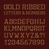Lettres et nombres à nervures d'or avec des flourishes sur le marbre rouge Image libre de droits