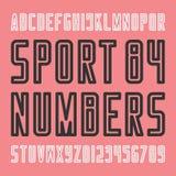 Lettres et nombres élégants d'alphabet d'équipe de sport Photographie stock libre de droits