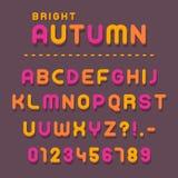 Lettres et nombres colorés dans le thème d'automne illustration de vecteur