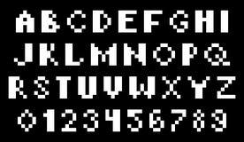 Lettres et nombres détruits de pixel illustration stock