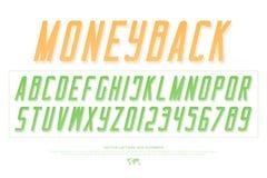 Lettres et nombres d'alphabet de billets de banque vecteur, type de police d'argent Photos libres de droits