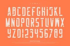 Lettres et nombres d'alphabet de pochoir , type géométrique de police Photographie stock