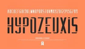 Lettres et nombres d'alphabet de pochoir vecteur, type géométrique de police illustration stock
