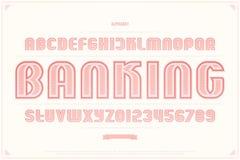 Lettres et nombres d'alphabet de style de billet de banque vecteur, police d'argent illustration de vecteur
