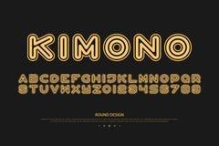 Lettres et nombres d'alphabet de style de caractère sans obit et sans empattement vecteur, police illustration libre de droits