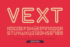 Lettres et nombres d'alphabet de style d'ensemble Image stock