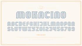 Lettres et nombres d'alphabet de style de vintage vecteur, police de découpe illustration stock