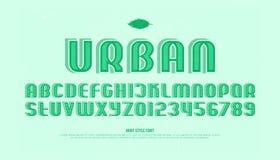 lettres et nombres d'alphabet du style 3d vecteur, type rayé de police Image libre de droits