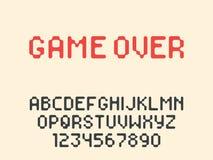 Lettres et nombres d'alphabet latin de pixel de vecteur Police arrondie de pixel illustration stock