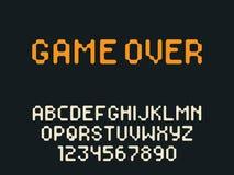 Lettres et nombres d'alphabet latin de pixel de vecteur Police arrondie de pixel illustration libre de droits