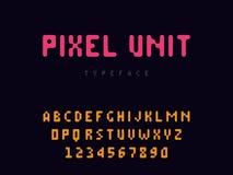 Lettres et nombres d'alphabet latin de pixel de vecteur Police arrondie de pixel illustration de vecteur