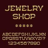 Lettres et nombres d'or Police présentable de luxe Photos stock