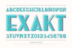 Lettres et nombres géométriques d'alphabet vecteur, type audacieux de police illustration stock