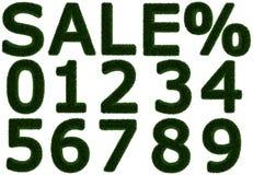 Lettres et nombres herbeux - ressort - VENTE % d'été Photos stock