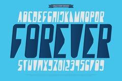 Lettres et nombres italiques d'alphabet vecteur, police géométrique illustration stock