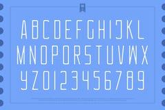 Lettres et nombres légers d'alphabet de style vecteur, type doux de police Photos libres de droits