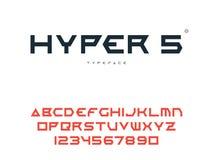 Lettres et nombres majuscules latins d'alphabet de vecteur Police futuriste abstraite de l'espace illustration stock