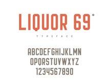 Lettres et nombres majuscules latins d'alphabet de vecteur Rétro fonte illustration de vecteur