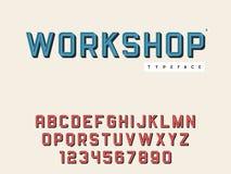 Lettres et nombres majuscules latins d'alphabet de vecteur Rétro police 3d illustration libre de droits