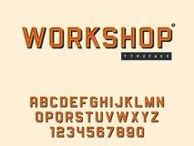 Lettres et nombres majuscules latins d'alphabet de vecteur Rétro police 3d illustration de vecteur
