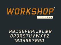Lettres et nombres majuscules latins d'alphabet de vecteur R?tro police 3d illustration stock