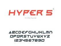 Lettres et nombres majuscules latins d'alphabet Police futuriste abstraite de l'espace Illustration de vecteur illustration stock