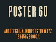 Lettres et nombres majuscules latins d'alphabet Rétro police d'affiche Illustration de vecteur illustration libre de droits