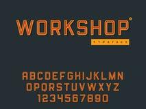 Lettres et nombres majuscules latins d'alphabet R?tro police 3d Illustration de vecteur illustration stock