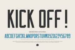 Lettres et nombres minimalistes d'alphabet de style vecteur, type accentué conception de police Image libre de droits