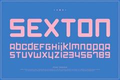 Lettres et nombres modernes d'alphabet de style vecteur, type audacieux de police illustration stock