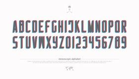 Lettres et nombres stéréoscopiques d'alphabet vecteur, type de police de l'effet 3d Photos libres de droits