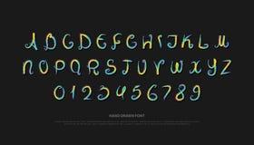 Lettres et nombres tirés par la main d'alphabet brosse de vecteur, type de police Photographie stock libre de droits