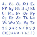Lettres et nombres tirés par la main d'alphabet latin illustration stock