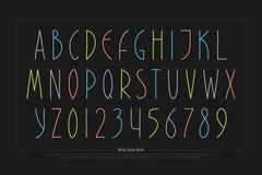 Lettres et nombres tirés par la main d'alphabet Type de police Images libres de droits