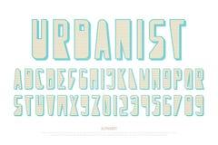 Lettres et nombres urbains d'alphabet de style , type à la mode conception de police illustration libre de droits