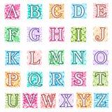 Lettres foliées et florales d'alphabet réglées Photo libre de droits
