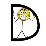 Lettres heureuses d'alphabet - D image stock