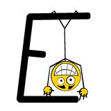 Lettres heureuses d'alphabet - E photo stock