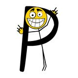 Lettres heureuses d'alphabet - P Photo libre de droits