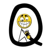 Lettres heureuses d'alphabet - Q illustration de vecteur