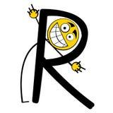 Lettres heureuses d'alphabet - R illustration de vecteur