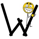 Lettres heureuses d'alphabet - W photographie stock