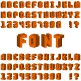 Lettres isométriques de la police 3D d'alphabet pour le vecteur de périphérique mobile de Web Image stock