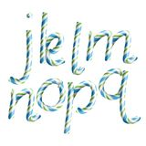 Lettres J, K, L, M, N, O, P, Q Vecteur couleurs réalistes de Cane Alphabet Symbol In Christmas de la sucrerie 3D lettre de nouvel Images stock