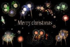 Lettres Joyeux Noël et flashes des feux d'artifice photos libres de droits