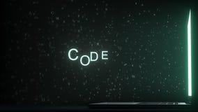 Lettres laissant le texte de CODE de grille d'ordinateur, rendu 3D photos libres de droits