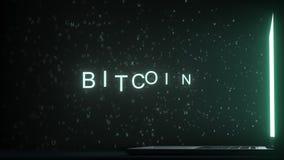 Lettres laissant le texte de la grille d'ordinateur BITCOIN, rendu 3D images libres de droits