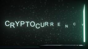 Lettres laissant le texte de la grille d'ordinateur CRYPTOCURRENCY, rendu 3D image stock