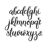 Lettres manuscrites de brosse ABC Calligraphie moderne Alphabet de vecteur de lettrage de main Photo stock
